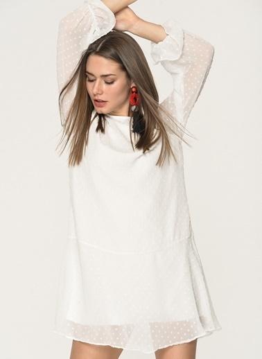 Loves You Nopeli Astarlı Uzun Kol Şifon Elbise Beyaz